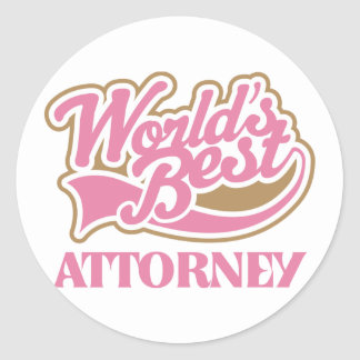 Cute Pink Worlds Best Attorney Round Sticker