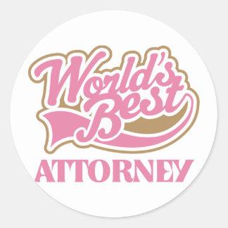 Cute Pink Worlds Best Attorney Round Sticker