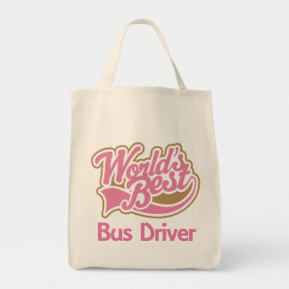 Cute Pink Worlds Best Bus Driver Grocery Tote Bag