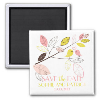 Cute Pink & Yellow Lovebirds Save the Date Magnet