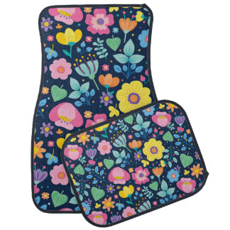 Cute Pink Yellow Purple Green Floral on Navy Blue Car Mat