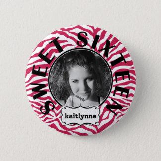 Cute Pink Zebra  Sweet 16th Birthday Girl 6 Cm Round Badge