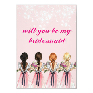 cute pinkish will you be my bridesmaid Invitation