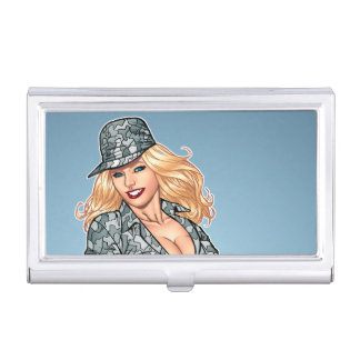 Cute Pinup Girl in Camo by Al Rio Business Card Holder