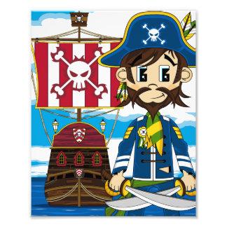 Cute Pirate and Ship Photo Print