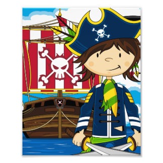 Cute Pirate and Ship Photo Print