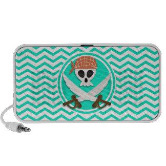 Cute Pirate; Aqua Green Chevron iPod Speaker