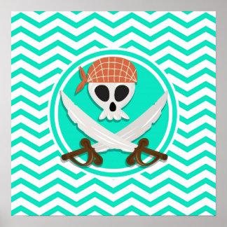 Cute Pirate Aqua Green Chevron Print
