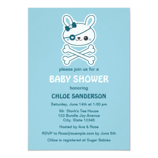 Cute Pirate Bunny Baby Shower Invitations