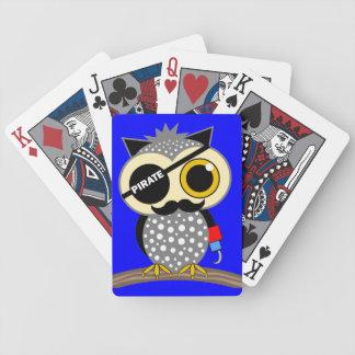 cute pirate owl poker deck