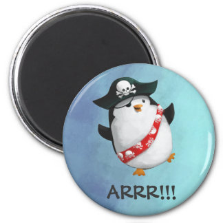 Cute Pirate Penguin 6 Cm Round Magnet