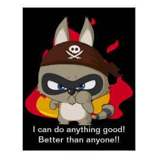 Cute pirate raccoon funny cartoon charcter poster