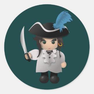 Cute Pirate Round Sticker