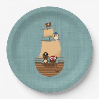 Cute Pirate Ship Blue Burlap Kid Birthday Paper Plate