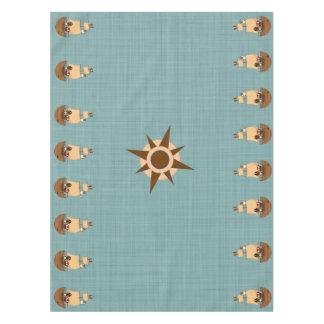 Cute Pirate Ship Blue Burlap Kid Birthday Tablecloth