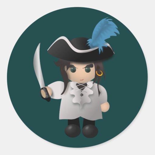 Cute Pirate Round Stickers