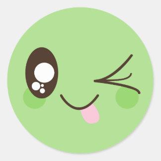 Cute Pistachio Green Kawaii Smiley Face Classic Round Sticker