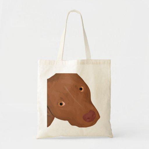 Cute Pit Bull portrait Canvas Bag