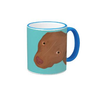 Cute Pit Bull portrait Ringer Mug