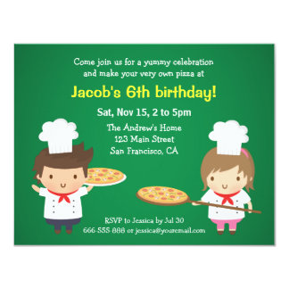 Cute Pizza Kids Birthday Party Invitations