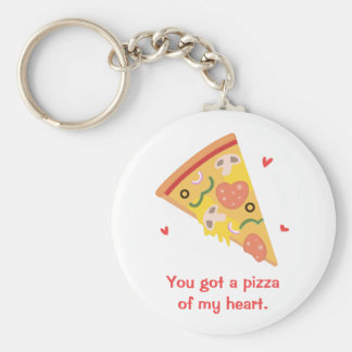 Cute Pizza of my Heart Pun Love Humor Key Ring