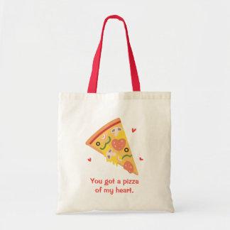 Cute Pizza of my Heart Pun Love Humor Tote Bag