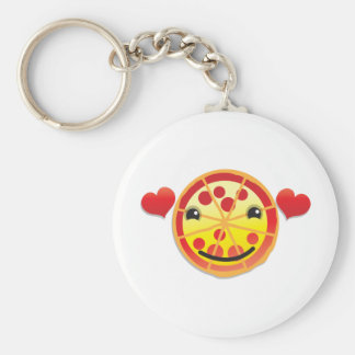 cute pizza pepperoni! basic round button key ring