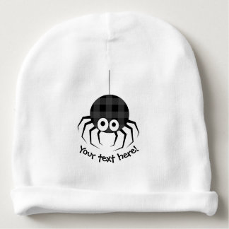Cute Plaid Black Spiders and Curly Web Baby Beanie