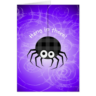 Cute Plaid Black Spiders and Curly Web Card