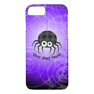 Cute Plaid Black Spiders and Curly Web iPhone 7 Case