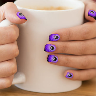 Cute Plaid Black Spiders and Curly Web Minx Nail Art