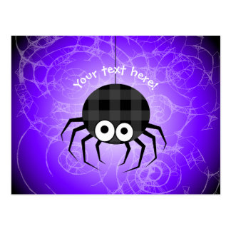 Cute Plaid Black Spiders and Curly Web Postcard