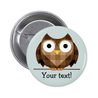 Cute Plaid Brown Horned Owl Illustration 6 Cm Round Badge