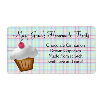 Cute Plaid Cupcake Custom Label