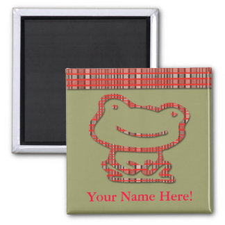 Cute Plaid Frog Custom Magnet