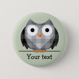 Cute Plaid Grey Horned Owl Illustration 6 Cm Round Badge