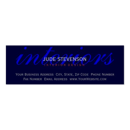 Cute Plain Blue Interior Designer Business Card