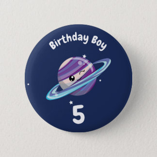 Cute Planet Saturn Space Galaxy Kid Birthday 6 Cm Round Badge
