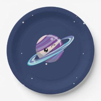 Cute Planet Saturn Space Galaxy Kid Birthday Paper Plate