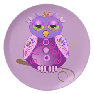 Girly Owl Plate...