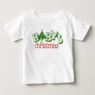 Cute Playful Baby's First Christmas Word Art Baby T-Shirt
