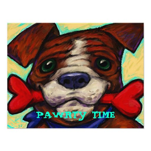 CUTE & PLAYFUL DOG PAWRTY PARTY INVITE INVITATION
