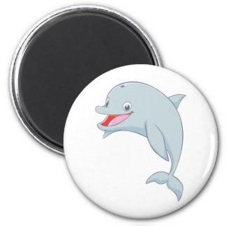 Cute Playful Dolphin Cartoon 6 Cm Round Magnet