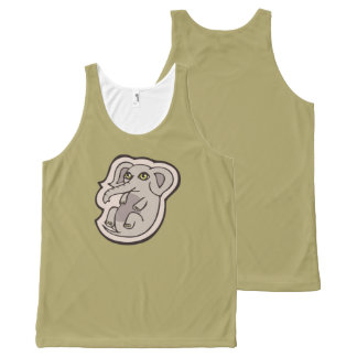 Cute Playful Gray Baby Elephant Drawing Design All-Over Print Tank Top