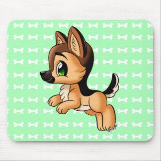 Cute Playful Hand Drawn Puppy Mint Green Mousepad