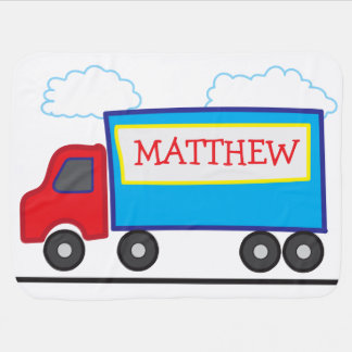 Cute Playful Personalized Truck Illustration Baby Blanket