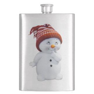 CUTE PLAYFUL SNOWMAN HIP FLASK