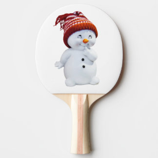 CUTE PLAYFUL SNOWMAN PING PONG PADDLE