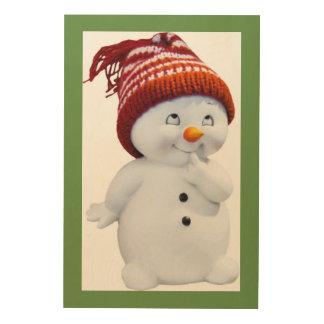 CUTE PLAYFUL SNOWMAN WOOD PRINT