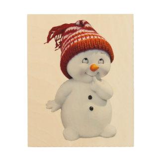 CUTE PLAYFUL SNOWMAN WOOD WALL ART